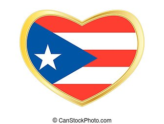 Flag of Puerto Rico in heart shape, golden frame