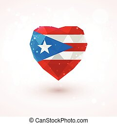 Flag of Puerto Rico in shape diamond glass heart. Triangulation style