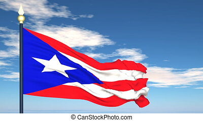 Flag Of Puerto Rico on the background of the sky and flying...