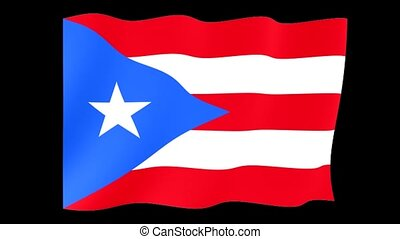 Flag of Puerto Rico. Waving flag (PNG) computer animatie.