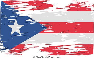 Flag of Puerto Rico with old texture. Vector
