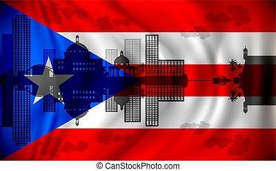 Flag of Puerto Rico with San Juan skyline