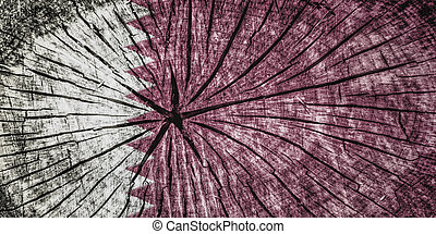 flag of Qatar - Flag of Qatar  on cracked wooden texture