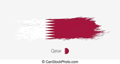 Flag of Qatar, grunge abstract brush stroke on gray background.