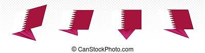 Flag of Qatar in modern abstract design, flag set.