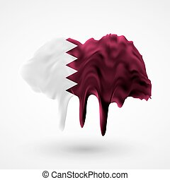 Flag of Qatar painted colors