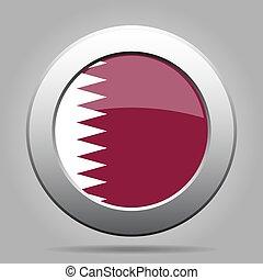 Flag of Qatar. Shiny metal gray round button.