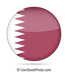 Flag of Qatar. Shiny round button.