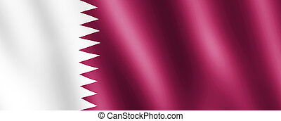 Flag of Qatar waving in the wind giving an undulating texture of folds in the fabric. The Image is in the official ratio of the flag - 11:28.