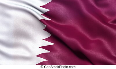 Flag of Qatar waving in the wind.