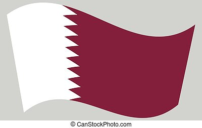 Flag of Qatar waving on gray background
