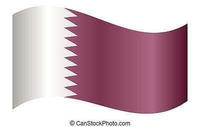 Flag of Qatar waving on white background