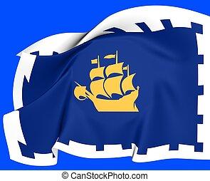 Flag of Quebec City, Canada.