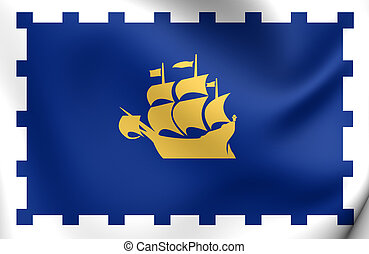 Flag of Quebec City, Canada.