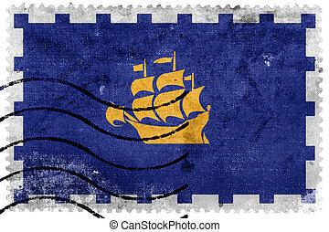 Flag of Quebec City, old postage stamp