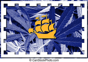 Flag of Quebec City, on cannabis background