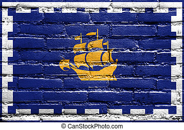 Flag of Quebec City, painted on brick wall