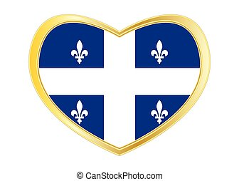 Flag of Quebec in heart shape, golden frame
