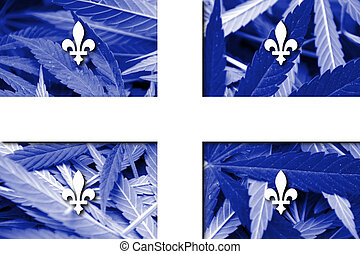 Flag of Quebec, on cannabis background