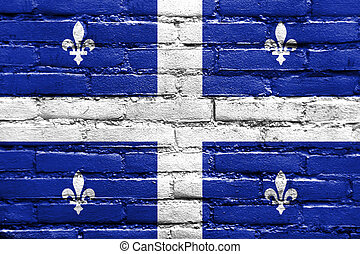 Flag of Quebec, painted on brick wall