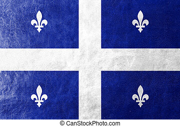 Flag of Quebec, painted on leather texture