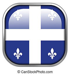 Flag of Quebec, square glossy button