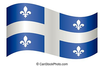 Flag of Quebec waving on white background