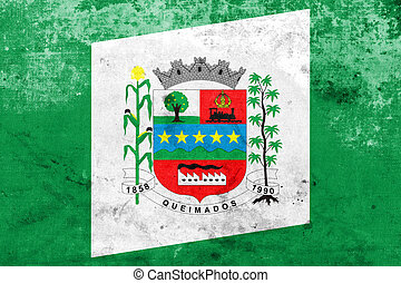 Flag of Queimados, Brazil, with a vintage and old look