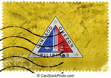 Flag of Quezon City, Philippines, old postage stamp