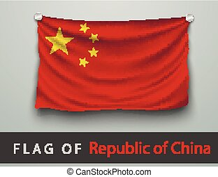 FLAG OF Republic of China battered, hung on the wall, ...