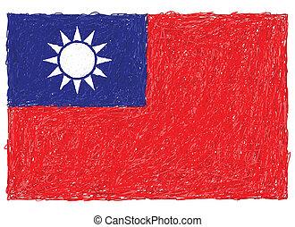 flag of republic of china - hand drawn illustration of flag ...