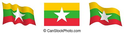 flag of republic of myanmar in static position and in motion...