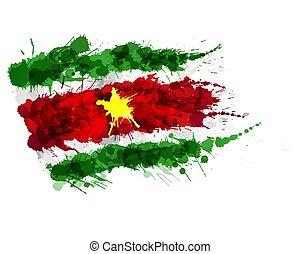 Flag of Republic of Suriname made of colorful splashes