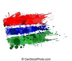 Flag of Republic of The Gambia made of colorful splashes