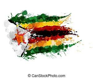 Flag of Republic of Zimbabwe made of colorful splashes