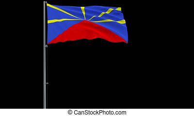 Flag of Reunion on transparent background, 4k prores 4444...