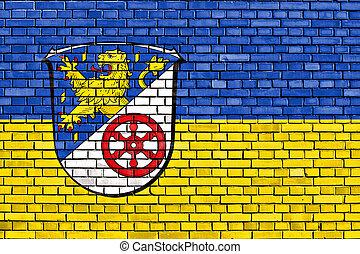 flag of Rheingau-Taunus-Kreis painted on brick wall