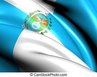 Flag of Rio de Janeiro State, Brazil. Close Up.