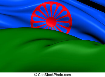 Flag of Romani People. Close Up.