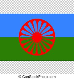 Flag of Romani People. Close Up vector
