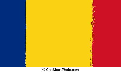 Flag of Romania - Drawing Romanian Flag by Brush Strokes