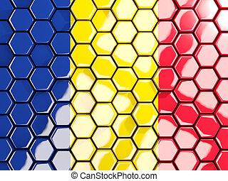 Flag of romania, hexagon mosaic background