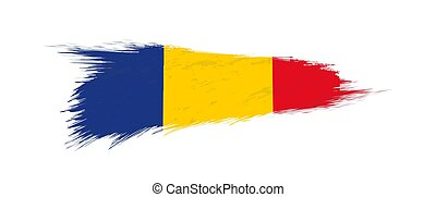 Flag of Romania in grunge brush stroke.