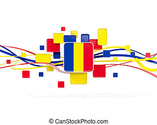 Flag of romania, mosaic background with lines