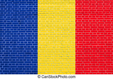 Flag of Romania on brick wall texture background