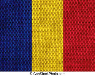 Flag of Romania on old linen