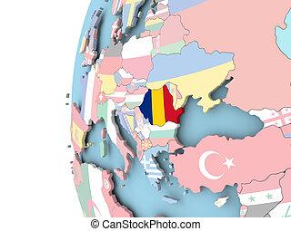 Flag of Romania on political globe