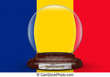 Flag of Romania on snow globe