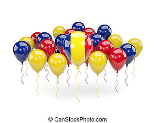 Flag of romania with balloons