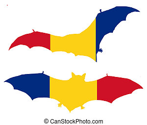 Flag of Romania with bat